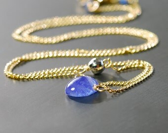 Tanzanite Necklace by Agusha. 14k White Gold, Tanzanite, Gold Filled Necklace. Dainty Gold Filled Neckalce