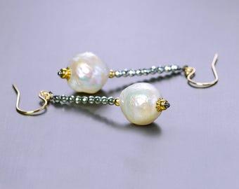 Baroque Pearl Drop by Agusha. White Baroque Pearl Earrings. Wrinkle Pearl Dangle