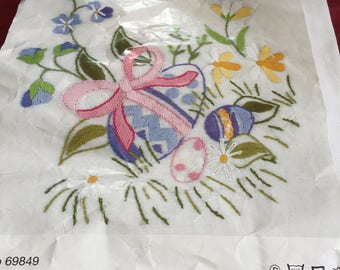 Vintage European Easter Embroidery Table Cloth Kit