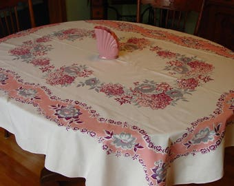 "Vintage Tablecloth, Large Pink and Grey 56 x 70"" c.1950's Cotton"