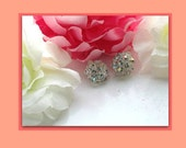 Jewelry, earrings, vintage crystal earrings, vintage clip earrings, bridal earrings, sparkle clip earrings, rainbow earrings, timelesspeony