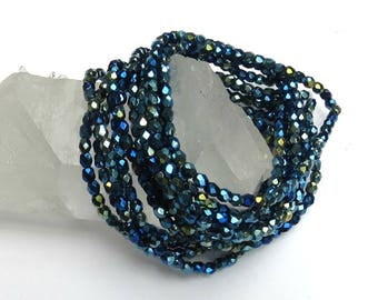 4mm Blue Iris Czech Glass - Fire Polished Crystal - Faceted Round -  50 Beads