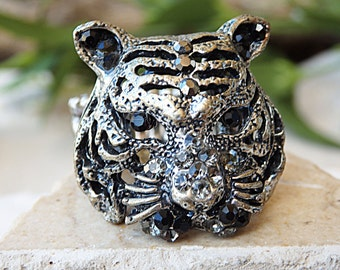 Tiger ring, Animal jewelry, Statement ring, Tiger jewelry, Stretch rings, Rubber ring, Black, Gray, Crystals ring, Leopard ring, Tiger head