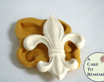 "Large Fleur de Lis silicone mold, about 3"" wide. Fondant or gumpaste mold. Good for making a Mardi Gras or Saints WHO DAT cake topper  M5112"