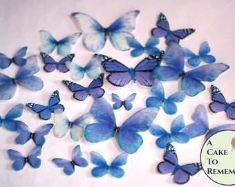 26 blue butterfly wedding cake decorations for a spring wedding cake or a rustic wedding cake