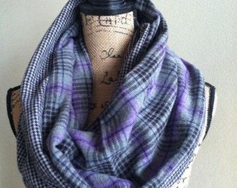 Flannel one loop single pocket scarf plaid and hounds tooth scarf travel scarf, pocket scarf, secret pocket scarf