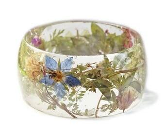 Magical Herb and Flower Bracelet - Real Flower Jewelry- Spring Flowers- Jewelry with Real Flowers- Green Bracelet -Boho Jewelry-