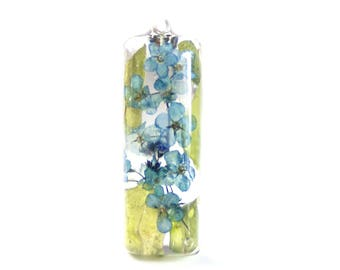 Blue Flower Pendant - Real Flower Jewelry - Blue Flower Pendant - Necklace Charm - Flower Jewelry - Blue Pendant