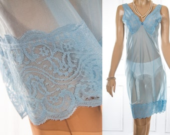 NWT unworn silky soft glossy azure blue nylon and delicate matching pretty floral design lace detail 70's vintage full slip petticoat - 3803