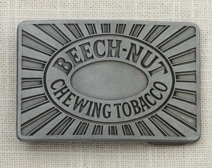 Beech Nut Chewing Tobacco Belt Buckle Rectangle Pewter Toned Vintage Belt Buckle 7F