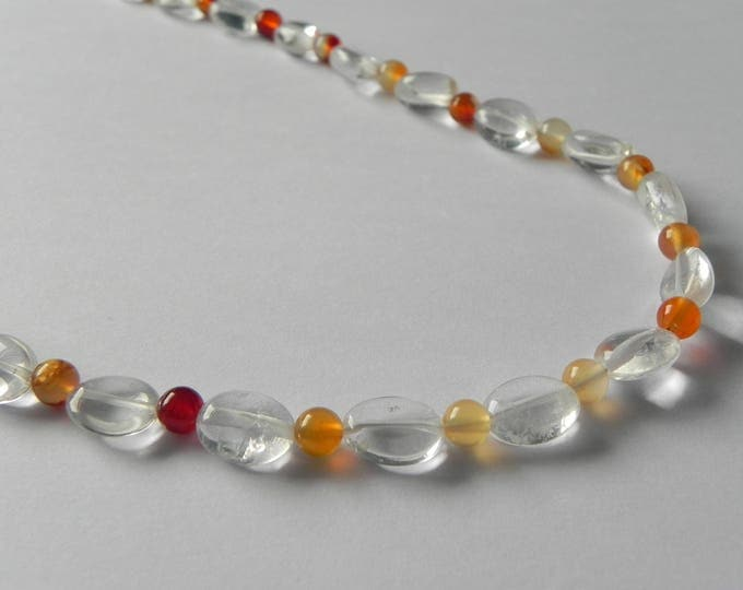 Clear quartz and carnelian long over the head gemstone necklace.
