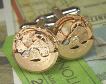 Steampunk Cufflinks Cuff Links - Torch SOLDERED - Vintage ROSE Gold OMEGA Spinning Watch Movements - Wedding Anniversary Gift - Ultra Luxury
