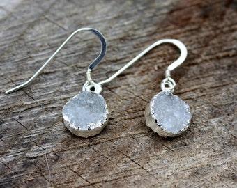 Druzy Earrings - Crystal Druzy - Silver Edged Druzy - Sterling Silver Earrings - White Druzy - Dainty Crystal Drop Earrings - Two Feathers