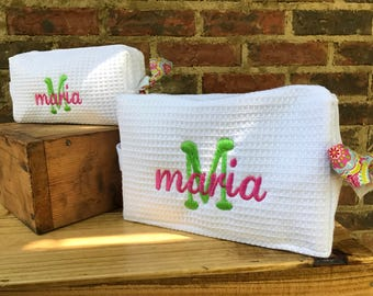Cosmetic Bag Small and Large, Pouch Case, Carry Case, Large & Small Waffle Weave Monogrammed Bridesmaid Gift