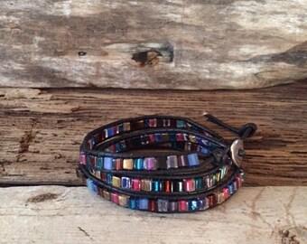 Leather Three 3 Wrap Miyuki Multi Color Glass Bead Bracelet