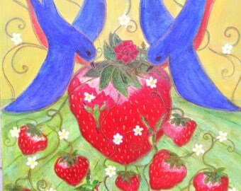OOAK original painting, Dulce Corazon del Valle, Sweetheart of the Valley, Strawberry bird festival acrylic painting