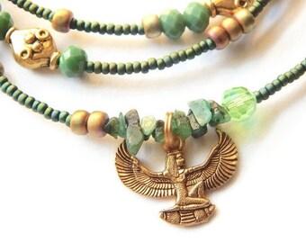 Maat Winged Goddess of Truth Emerald Waistbeads