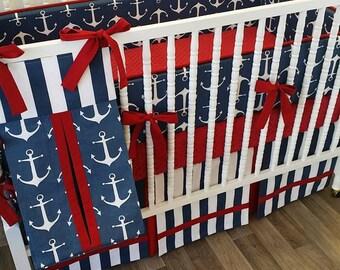 MADE to ORDER- 3 piece Boy Bedding- Anchor Crib Bedding- Nautical Baby Bedding