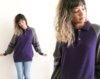 Purple Collared Pullover / Wool Knit Polo Sweater / Color Block Sweater / Grey Purple Unisex Letterman Striped Sweater Varsity 80s Sweater