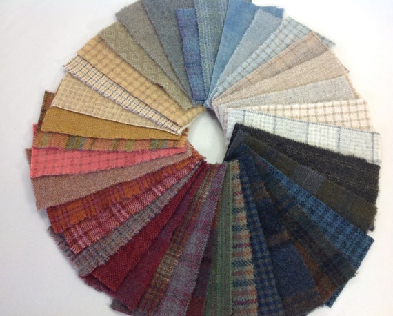 Farm House Wool Scraps, 36 pieces, for Applique and Craft projects, W313, Textures, Plaids, Hand Dyed, Colorful Wool Pieces