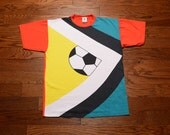 vintage 90s soccer t-shirt oversize shirt 1990s soccer World Cup In Excess football futbol baggy tee large XL
