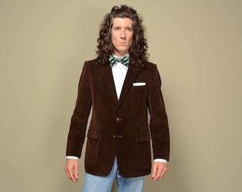 mens vintage 80s corduroy sport jacket chocolate brown corduroy blazer vintage menswear Carlo Briani 39-40R 39 40 dark brown sport jacket