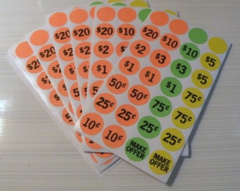 Neon Garage Sale Labels Pre-Printed and Blank 420 Count Make Offer and Blank Round Labels Sticker Tag Label
