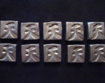 "Lot of 10 Burnished Silver  Polymer Clay Chinese Character Imprinted 3/4"" Square Beads"