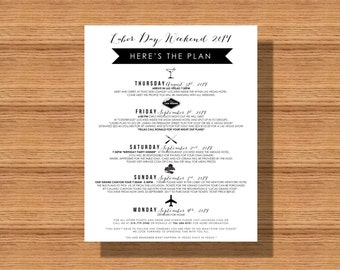wedding itinerary wedding schedule of events printable itinerary for any event welcome with