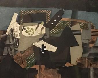 """After Georges Braque  """"Le gueridon noir"""" or """"The Black Pedestal"""", c1950 Etching and color aquatint. Georges Visat, sculpt"""