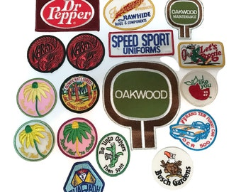 17 Groovy vintage embroidery patches c1970, OCR 500, lets Boogie, Dr. Pepper, Featherweight, Rock Fest '74, Busch Gardens and more!