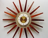 Starburst Clock, Forestville, 1960s 1970s, Atomic Era Sunburst Clock