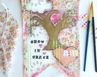 Canvas banner ~ Grow with Grace tree ~ canvas wall hanging decor