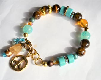 TIGERS EYE PEACE Sign Mixed Bead Rhinestone Bracelet with Citrine Charm Gold Peace Sign Charm