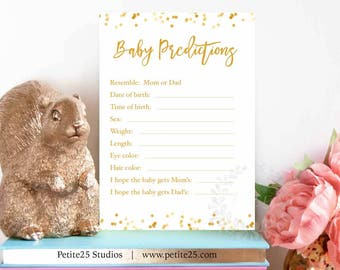 Baby Prediction game, baby shower game, gold foil game, printable game, baby features, who will baby look like