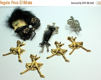 MASSIVE CLEARANCE Destash  Craft Lot of Vintage Salvaged  Figural  Lady People Jewelry Pieces