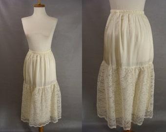 Off White Lace Half Slip. Acetate Half Slip. Petticoat. Lace Underskirt. Crinoline. Romantic Country Girl Slip for layering. size S M Medium
