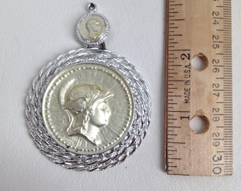 Roman Soldier Pendant. Spartan. Gladiator. Warrior. Caesar. Greek.  Cameo. Gold Coin Medallion. Pendant for Necklace. vintage 60s jewelry.
