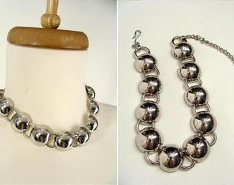SALE was 55.00. Atomic Space Age Necklace. Art Deco Choker. vintage Silver Tone CHUNKY SPHERES. Mid Century Modern Costume Jewelry