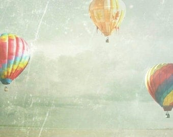 Hot Air Balloon Photograph - Floating - Fine Art Photograph of Hot Air Balloons on Blue and Grey Background
