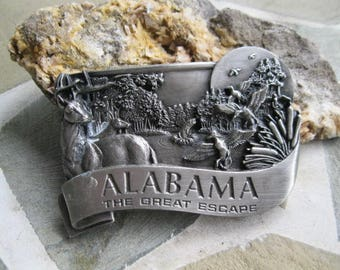 Alabama Belt Buckle. Bergamot Brass . Free US Shipping