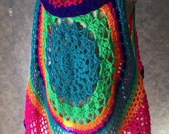 Circular Lotus Mandela Crocheted Vest - Large