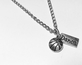charm necklace for the sports girl and/or dance girl with choice of two charms. chain link antiqued silver necklace.