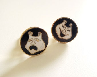 Rare Vintage Creation House Gold-Toned Cuff Links with Black & White Enamel Iconic Comedy and Tragedy Masks Design 1950s Actor Drama Gift