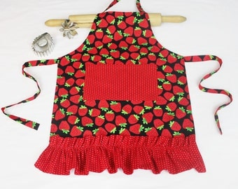 Strawberries Ruffled Child Apron with red polka dot pocket and ruffle - ready to ship