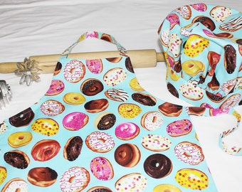 Donuts on Turquoise Child Apron and Adjustable Chef Hat