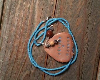 Beaded Turquoise Sticks & Stones Necklace, Uplifting and motivational jewerly, Native pendant