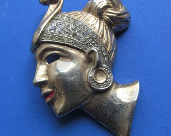 On Sale Antique Sterling Silver Vermeil Ethic Woman Figural Brooch Pin Rhinestones By Marslieu Circa 1940