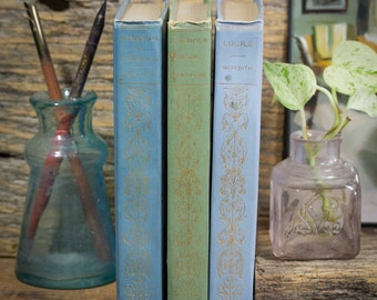 Three Hard Cover Antique Books, Shabby Decor, Pastel Periwinkle Blue & Green, Henry Altemus Publisher