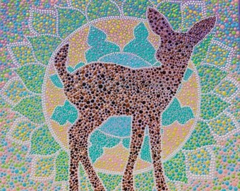 "Deer Mandala Painting | 12X12 | Wall Art | Home Decor | Acrylic | ""You've Got Soul"" 